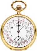Timepieces:Pocket (post 1900), Invicta Gold Chronograph with Register, circa 1905. ...