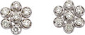 Estate Jewelry:Earrings, Diamond, White Gold Earrings. ... (Total: 2 Items)