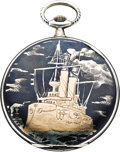 Timepieces:Pocket (post 1900), Juvenia Niello Enamel, Silver, Gold Pocket Watch, circa 1905. ...
