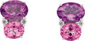 Estate Jewelry:Earrings, Amethyst, Pink Topaz, Diamond, White Gold Earrings. ... (Total: 2Items)
