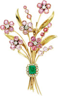 Estate Jewelry:Brooches - Pins, Emerald, Pink Tourmaline, Morganite, Diamond, Gold Brooch. ...