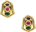 Estate Jewelry:Earrings, Tourmaline, Amethyst, Gold Earrings. ... (Total: 2 Items)