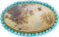 Estate Jewelry:Brooches - Pins, Dendritic Agate, Turquoise, Gold Brooch. ...