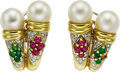 Estate Jewelry:Earrings, Ruby, Emerald, Diamond, Cultured Pearl, Gold Earrings. ... (Total:2 Items)