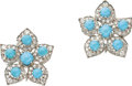 Estate Jewelry:Earrings, Turquoise, Diamond, Platinum Earrings. ... (Total: 2 Items)