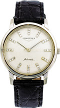 Timepieces:Wristwatch, Longines Men's Diamond, White Gold Automatic Wristwatch, circa1950. ...