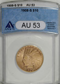 1908-S $10 AU53 ANACS. NGC Census: (46/373). PCGS Population (33/301). Mintage: 59,850. Numismedia Wsl. Price for NGC/PC...