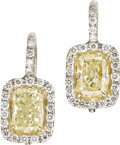 Estate Jewelry:Earrings, Colored Diamond, Diamond, Platinum Earrings. ... (Total: 2 Items)