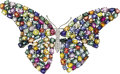 Estate Jewelry:Brooches - Pins, Multi-Color Sapphire, Diamond, White Gold Clip-Brooch. ...