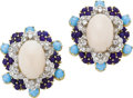 Estate Jewelry:Earrings, Diamond, Coral, Lapis Lazuli, Turquoise, Gold Earrings. ... (Total:2 Items)