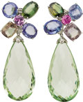 Estate Jewelry:Earrings, Multi-Color Sapphire, Green Beryl, Diamond, White Gold Earrings.... (Total: 2 Items)