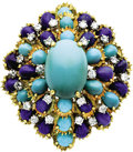 Estate Jewelry:Brooches - Pins, Turquoise, Diamond, Lapis Lazuli, Gold Clip-Brooch, circa 1960. ...