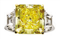 Estate Jewelry:Rings, Natural Fancy Intense Yellow Diamond, Diamond, Platinum, Gold Ring....