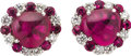 Estate Jewelry:Earrings, Rubellite Tourmaline, Diamond, Platinum Earrings. ... (Total: 2Items)