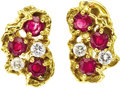 Estate Jewelry:Earrings, Ruby, Diamond, Gold Earrings, Arthur King. ... (Total: 2 Items)