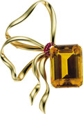 Estate Jewelry:Brooches - Pins, Retro Citrine, Ruby, Gold Brooch. ...