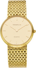Timepieces:Wristwatch, Tiffany & Co. Gold Integral Bracelet Wristwatch, circa 1980....