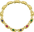 Estate Jewelry:Necklaces, Ruby, Sapphire, Emerald, Diamond, Gold Necklace. ...