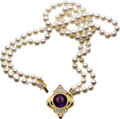 Estate Jewelry:Necklaces, Amethyst, Diamond, Cultured Pearl, Gold, Convertible Necklace. ...