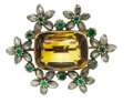 Estate Jewelry:Brooches - Pins, Victorian Citrine, Diamond, Emerald, Silver-Topped Gold Brooch. ...