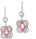 Estate Jewelry:Earrings, Diamond, Pink Sapphire, White Gold Earrings. ... (Total: 2 Items)