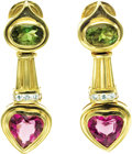 Estate Jewelry:Earrings, Diamond, Peridot, Tourmaline, Gold Earrings. ... (Total: 2 Items)