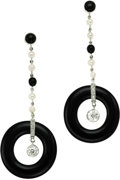 Estate Jewelry:Earrings, Diamond, Black Onyx, Cultured Pearl, Platinum Earrings. ... (Total:2 Items)