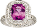 Estate Jewelry:Rings, Purple Sapphire, Diamond, White Gold Ring. ...