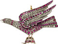 Estate Jewelry:Brooches - Pins, Victorian Ruby, Diamond, Silver-Topped Gold Pendant-Brooch. ...