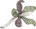 Estate Jewelry:Brooches - Pins, Diamond, Pink & Green Stone, White Gold Brooch. ...