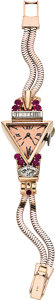 Timepieces:Wristwatch, Retro Swiss Lady's Diamond, Ruby, Pink Gold Wristwatch, circa 1940....