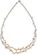 Estate Jewelry:Objects d'Art, Conch Pearl, Diamond, White Gold Necklace. ...