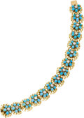 Estate Jewelry:Bracelets, Diamond, Turquoise, Gold Bracelet, Van Cleef & Arpels. ...