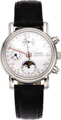 Timepieces:Wristwatch, Tourneau Men's Platinum, Chronograph Calendar Moon PhaseWristwatch, circa 2000. ...