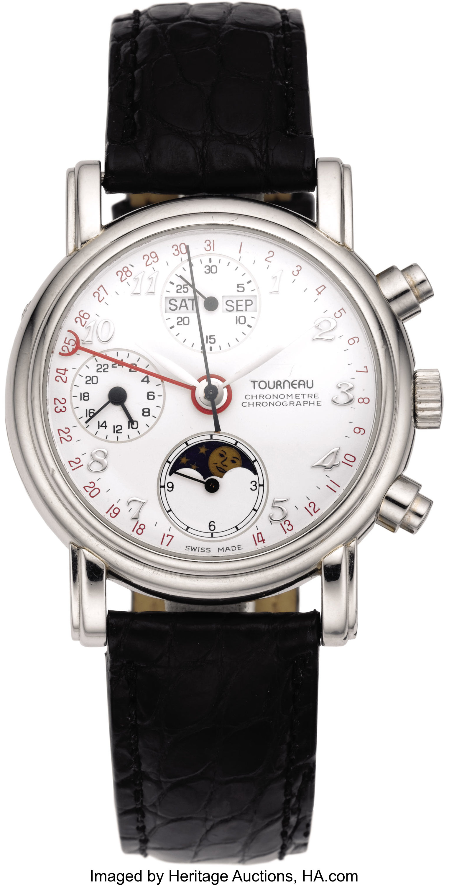 Tourneau Men's Platinum, Chronograph Calendar Moon Phase