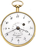 Timepieces:Pocket (pre 1900) , Courvoisier Freres Gold Quarter Hour Repeater with Calendar, circa1790. ...