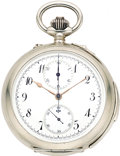 Timepieces:Pocket (pre 1900) , Savoy Freres & Cie, Rare Silver Minute Repeater with Carillon Chimes, Chronograph and Minute Register, circa 1895. ...