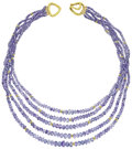 Estate Jewelry:Necklaces, Sapphire, Gold Bead Necklace. ...