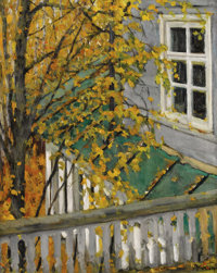 KONSTANTIN YUON (Russian, 1875-1958) An Autumnal View from the Balcony Oil on canvas 28-1/4 x 23