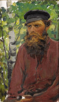 Fine Art - Painting, Russian:Antique (Pre-1900), ILYA REPIN (Russian, 1844-1930). Portrait of a RussianPeasant, 1892. Oil on canvas laid on board. 19-1/4 x 11-7/8inche...