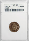 Proof Indian Cents, 1867 1C PR64 Red ANACS....