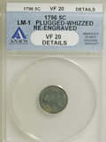 Early Half Dimes, 1796 H10C --Plugged, Whizzed, Re-Engraved--ANACS. VF20 Details....