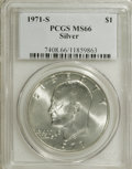 Eisenhower Dollars: , 1971-S $1 Silver MS66 PCGS. PCGS Population (1809/318). NGC Census: (619/69). Mintage: 2,600,000. Numismedia Wsl. Price for...