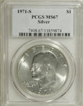 Eisenhower Dollars: , 1971-S $1 Silver MS67 PCGS. PCGS Population (309/1). NGC Census: (68/1). Mintage: 2,600,000. Numismedia Wsl. Price for NGC/...