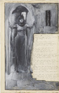 Mainstream Illustration, EDWIN AUSTIN ABBEY (American 1852 - 1911). The Mad MaydesSonge, 1881. Gouache on board. 16 x 10 in.. Signed lowerleft...
