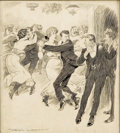 Mainstream Illustration, NORMAN LINDSAY (Australian 1879 - 1969). At the Dance. Inkon paper. 12 x 11 in.. Signed lower left. ...