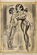 Mainstream Illustration, BILL WARD (American 1919 - 1998) . Support Woman's Lib,original men's magazine illustration . Mixed-media on paper . 20...