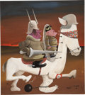 Mainstream Illustration, SAUL STEINBERG (American 1914 - 1999). Don Quixote, circa1943. Acrylic on paper. 14 x 12 in.. Signed lower right. ...