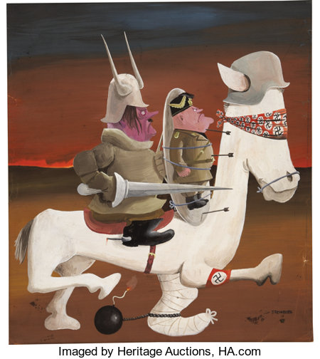 SAUL STEINBERG (American 1914 - 1999) Don Quixote, circa 1943 Acrylic on paper 14 x 12 in. Signed lower right ...