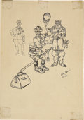 Mainstream Illustration, ARTHUR SZYK (American 1894 - 1951). Why Are Not You Americans AsDecent As He Is?, 1941. Ink on paper. 8 x 6 in.. Signed...